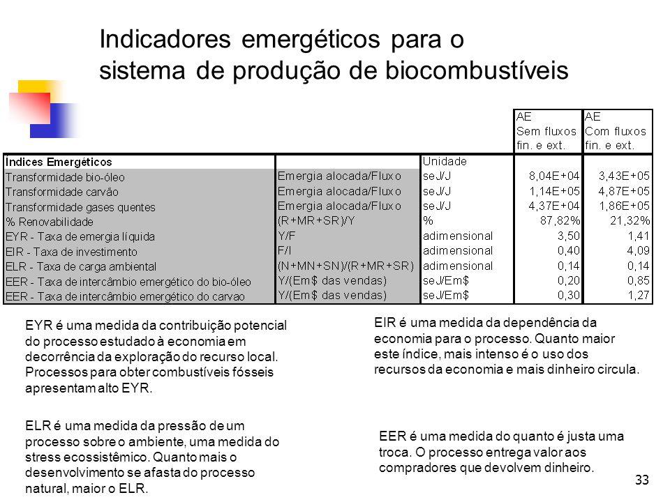 Indicadores emergéticos para o sistema de produção de biocombustíveis
