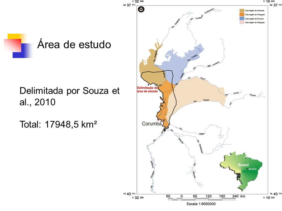 Área de estudo Delimitada por Souza et al., 2010 Total: 17948,5 km²