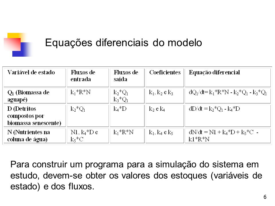 Equações diferenciais do modelo