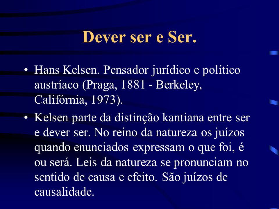Dever ser e Ser. Hans Kelsen. Pensador jurídico e político austríaco (Praga, 1881 - Berkeley, Califórnia, 1973).