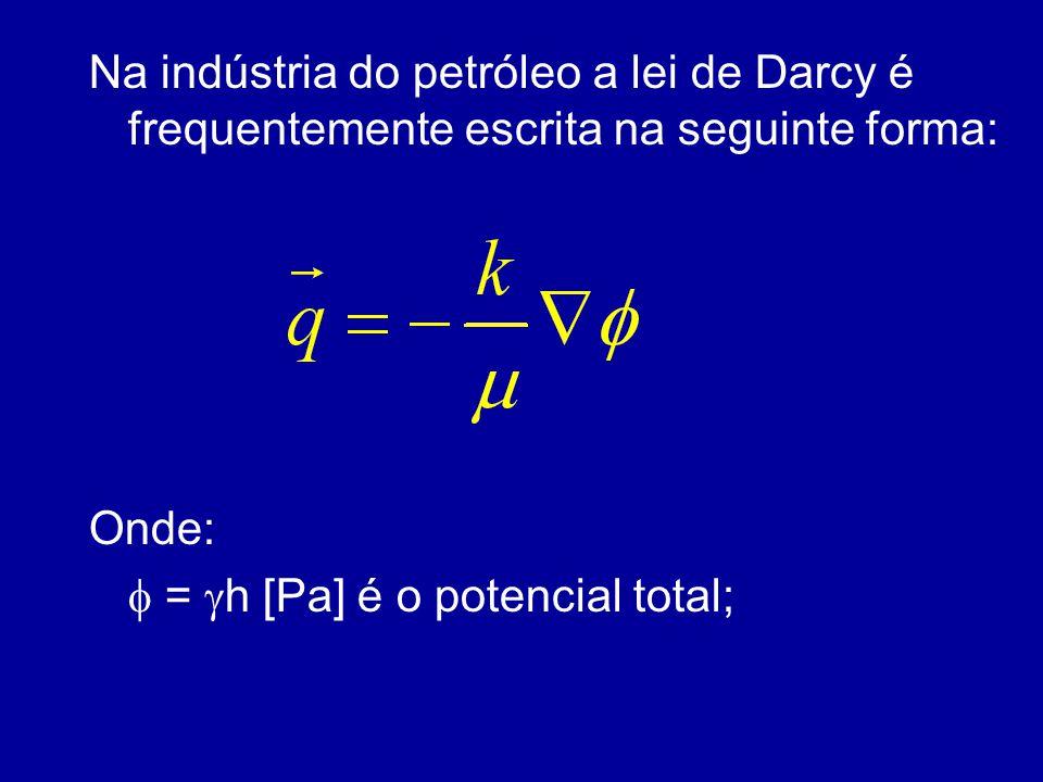 Na indústria do petróleo a lei de Darcy é frequentemente escrita na seguinte forma:
