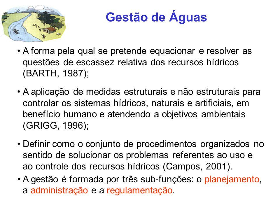 Gestão de Águas A forma pela qual se pretende equacionar e resolver as questões de escassez relativa dos recursos hídricos (BARTH, 1987);