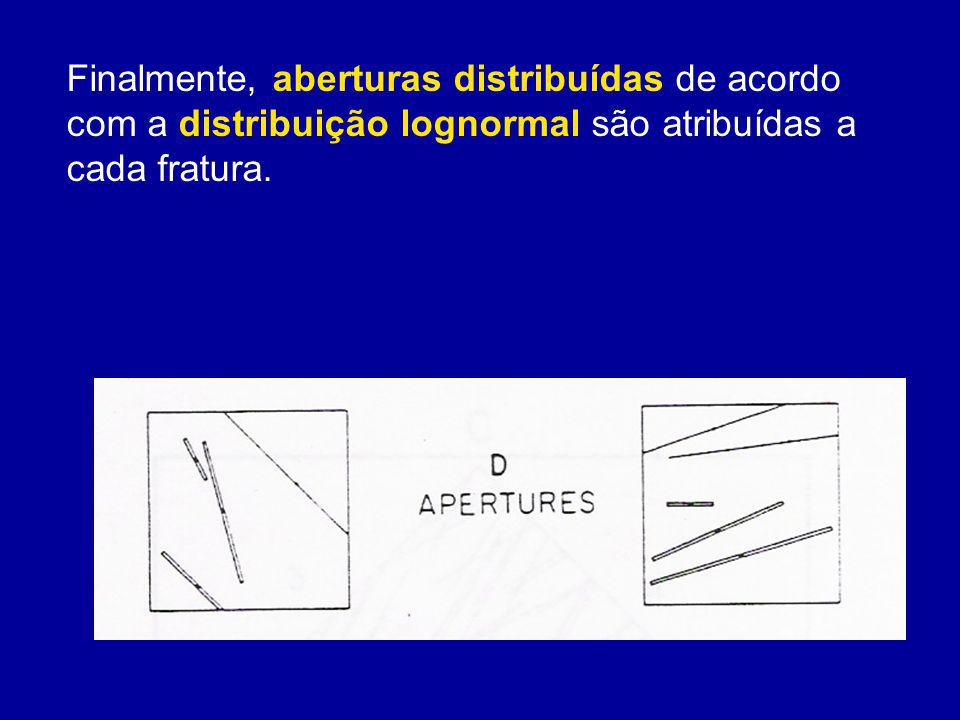Finalmente, aberturas distribuídas de acordo com a distribuição lognormal são atribuídas a cada fratura.