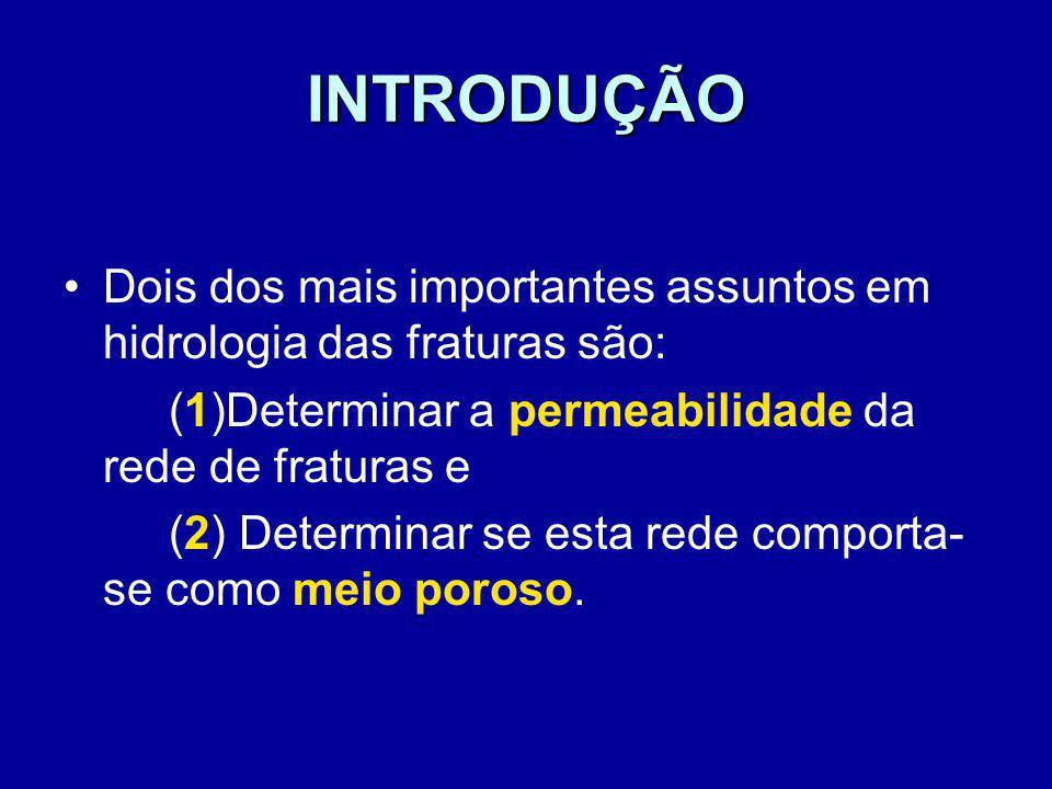 INTRODUÇÃO Dois dos mais importantes assuntos em hidrologia das fraturas são: (1)Determinar a permeabilidade da rede de fraturas e.