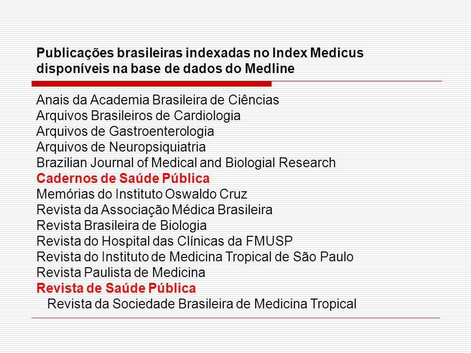 Publicações brasileiras indexadas no Index Medicus