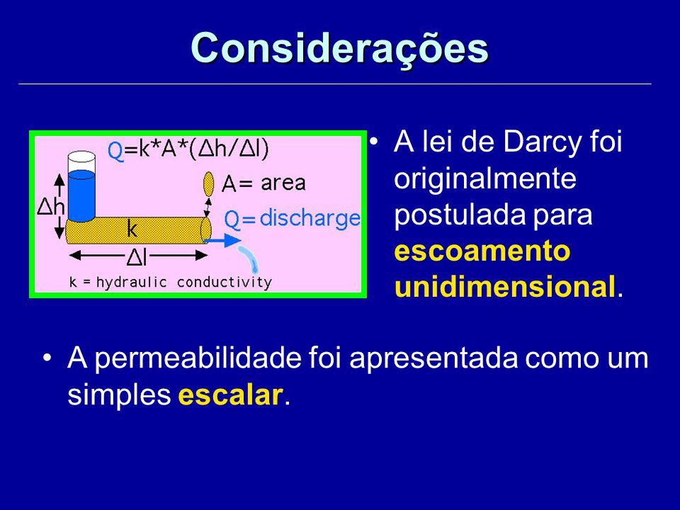 Considerações A lei de Darcy foi originalmente postulada para escoamento unidimensional.