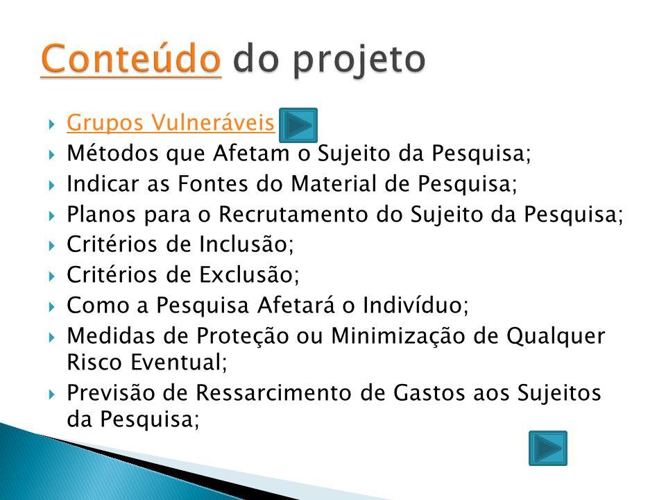 Conteúdo do projeto Grupos Vulneráveis