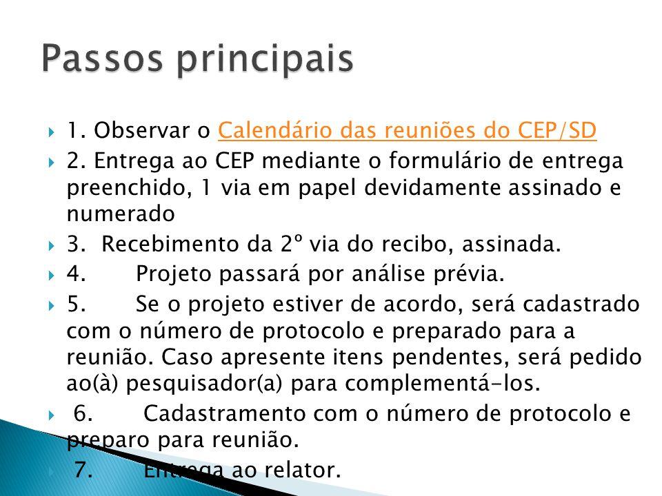 Passos principais 1. Observar o Calendário das reuniões do CEP/SD