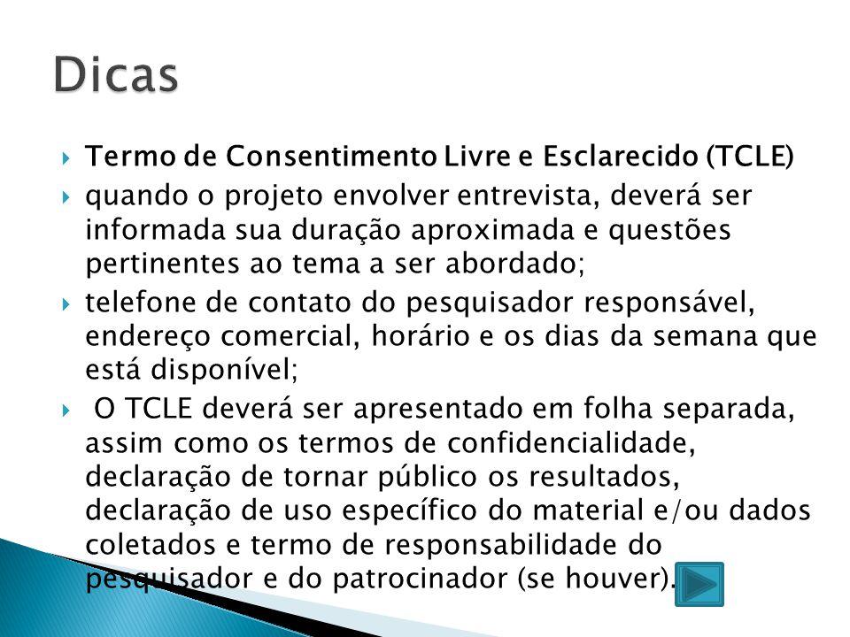 Dicas Termo de Consentimento Livre e Esclarecido (TCLE)
