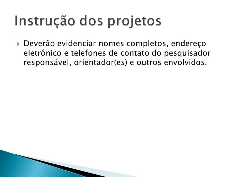 Instrução dos projetos