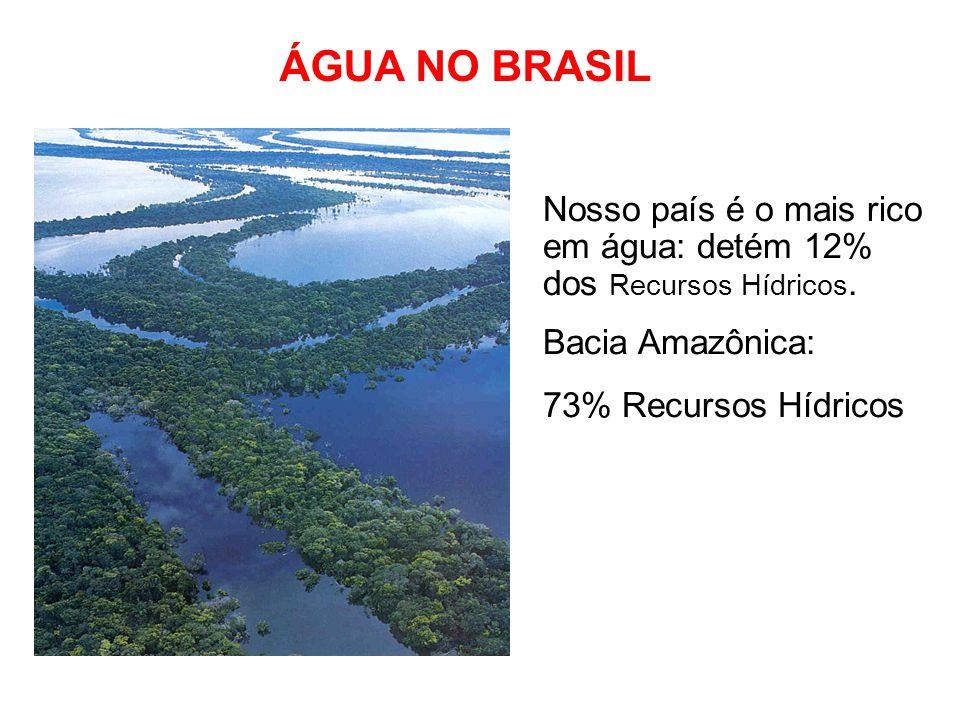 ÁGUA NO BRASIL Nosso país é o mais rico em água: detém 12% dos Recursos Hídricos. Bacia Amazônica: