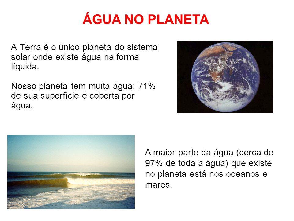 ÁGUA NO PLANETA A Terra é o único planeta do sistema solar onde existe água na forma líquida.