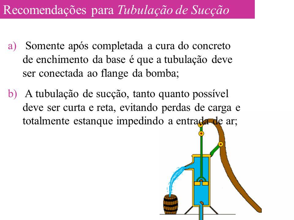 Recomendações para Tubulação de Sucção
