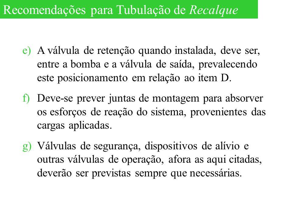 Recomendações para Tubulação de Recalque
