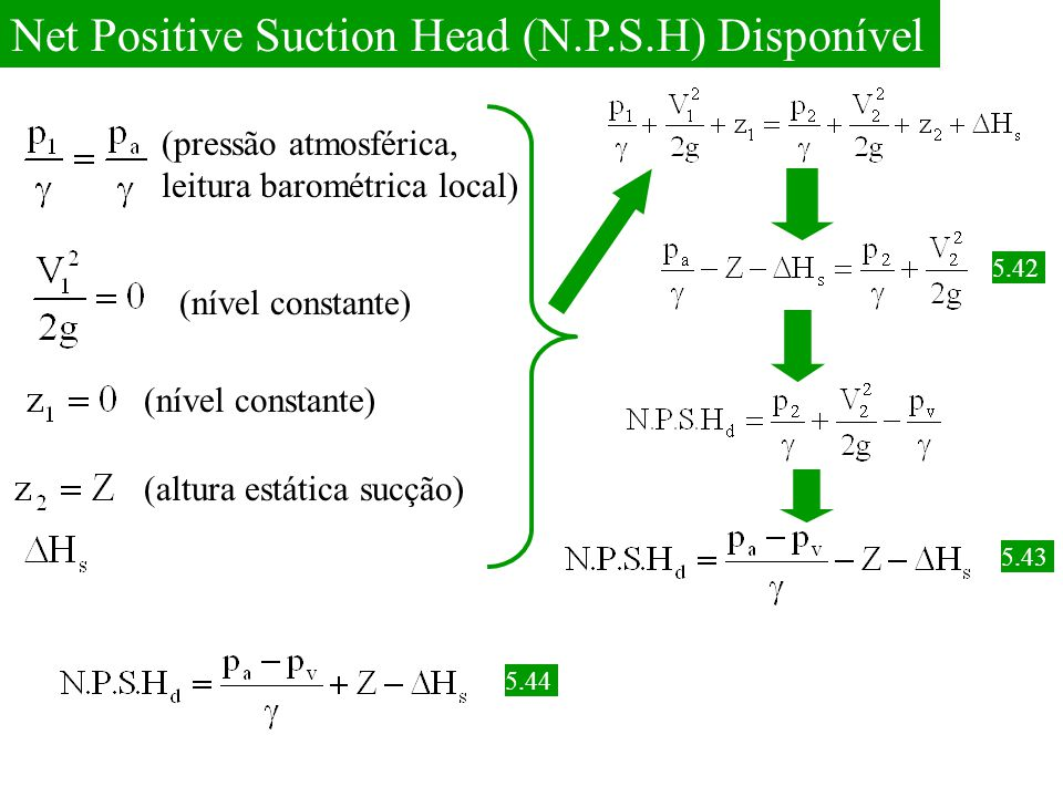 Net Positive Suction Head (N.P.S.H) Disponível
