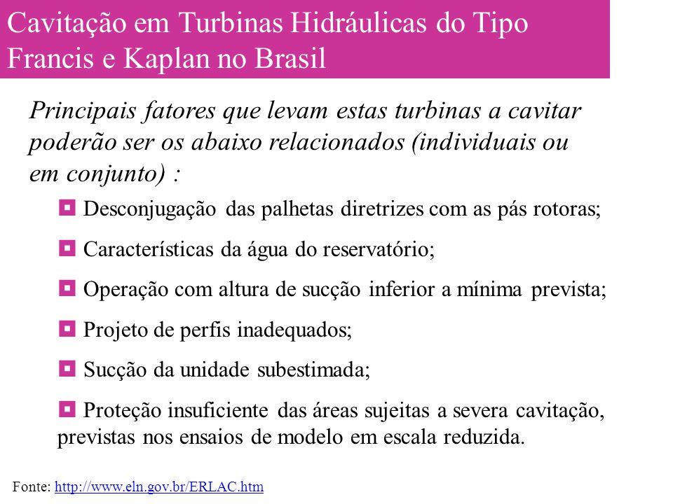 Cavitação em Turbinas Hidráulicas do Tipo Francis e Kaplan no Brasil