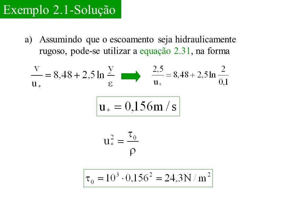 Exemplo 2.1-Solução Assumindo que o escoamento seja hidraulicamente rugoso, pode-se utilizar a equação 2.31, na forma.
