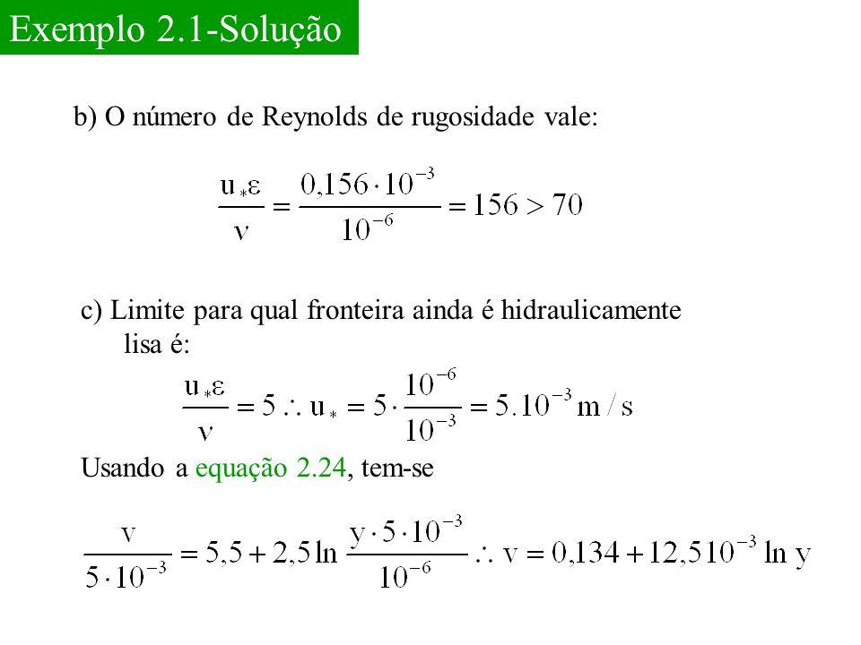 Exemplo 2.1-Solução b) O número de Reynolds de rugosidade vale: