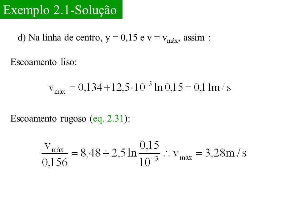Exemplo 2.1-Solução d) Na linha de centro, y = 0,15 e v = vmáx, assim : Escoamento liso: Escoamento rugoso (eq.