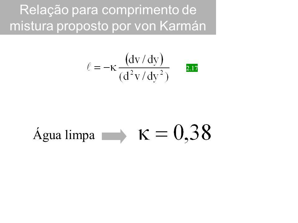 Relação para comprimento de mistura proposto por von Karmán