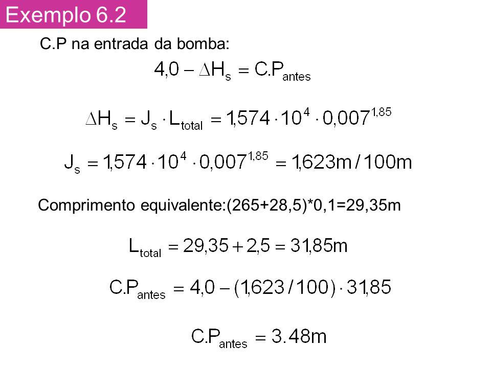 Exemplo 6.2 C.P na entrada da bomba: