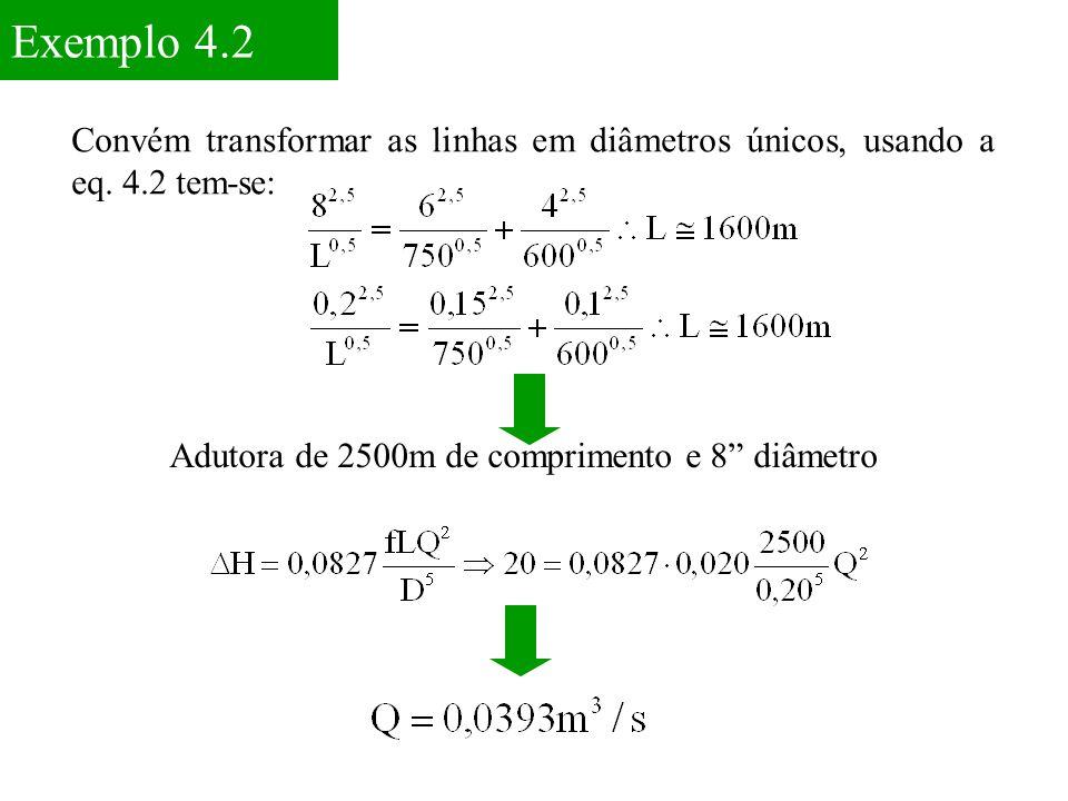 Exemplo 4.2 Convém transformar as linhas em diâmetros únicos, usando a eq.