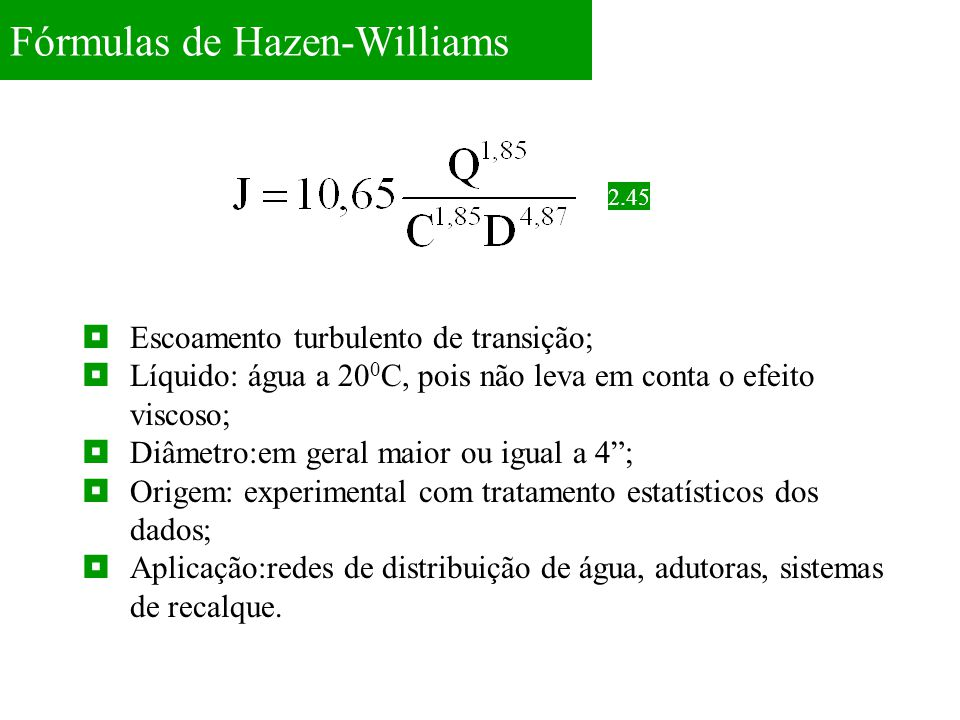 Fórmulas de Hazen-Williams