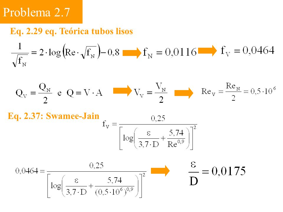 Problema 2.7 Eq. 2.29 eq. Teórica tubos lisos Eq. 2.37: Swamee-Jain