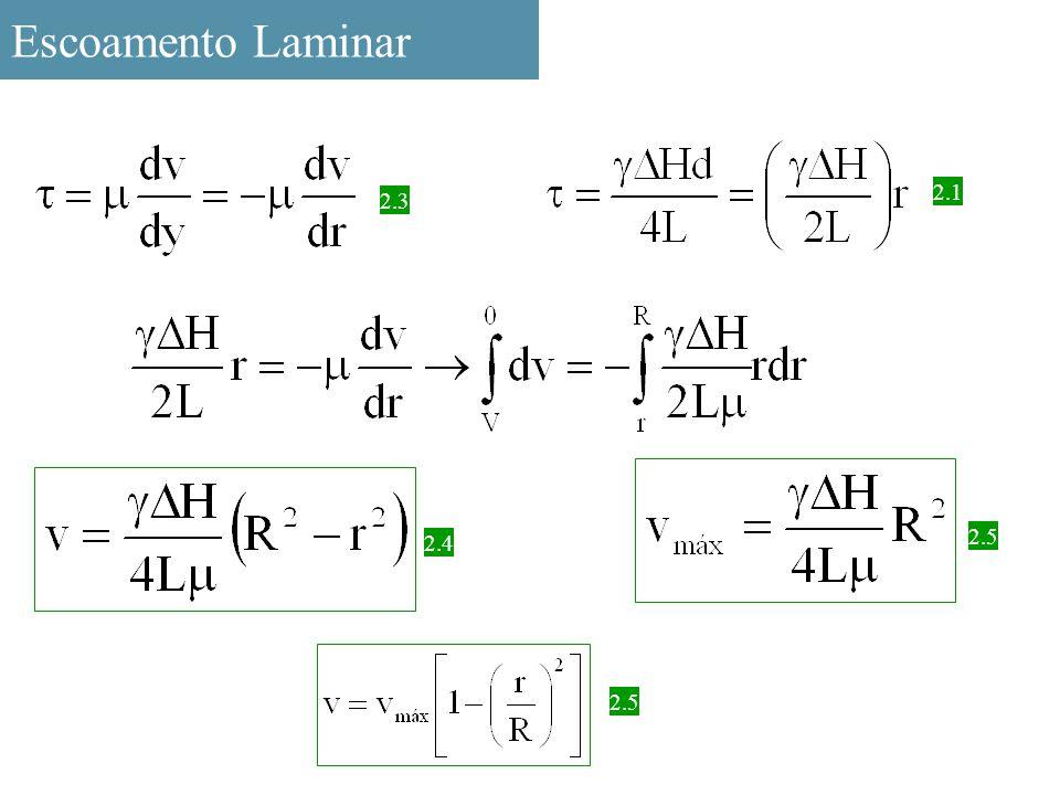 Escoamento Laminar 2.1 2.3 2.5 2.4 2.5
