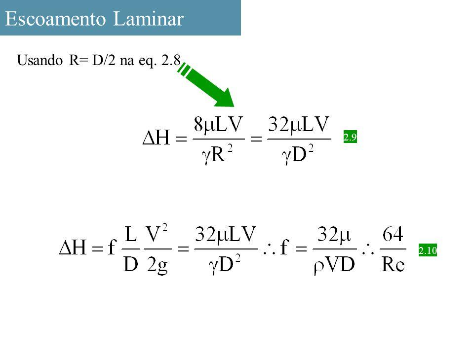 Escoamento Laminar Usando R= D/2 na eq. 2.8 2.9 2.10