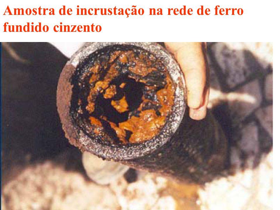 Amostra de incrustação na rede de ferro fundido cinzento