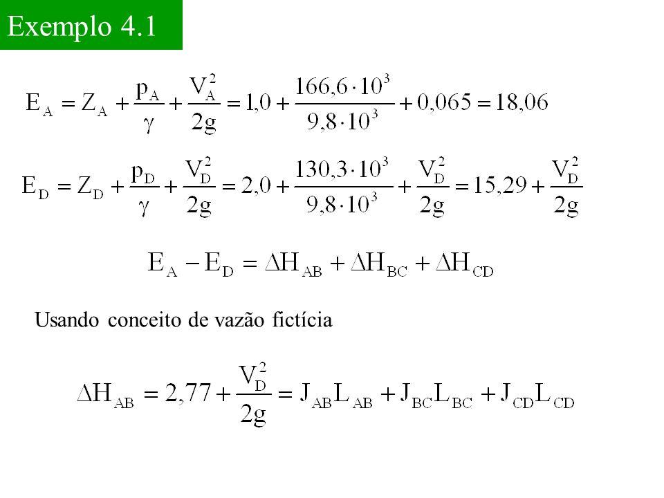 Exemplo 4.1 Usando conceito de vazão fictícia