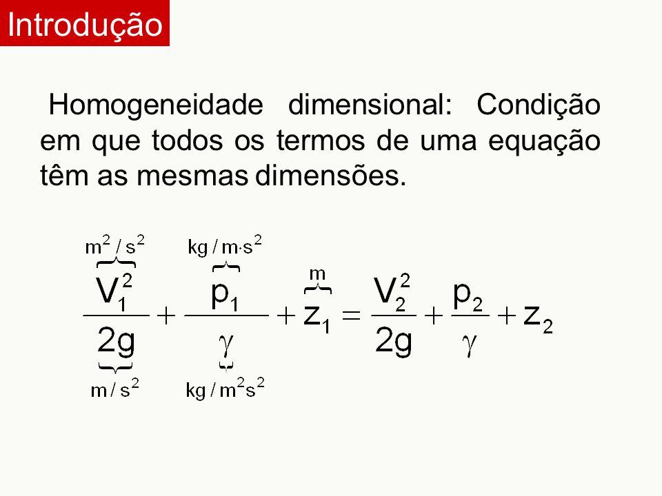 Introdução Homogeneidade dimensional: Condição em que todos os termos de uma equação têm as mesmas dimensões.