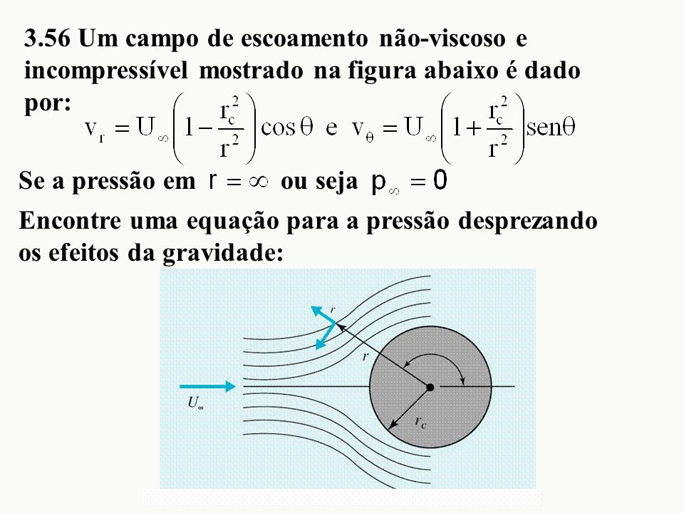 3.56 Um campo de escoamento não-viscoso e incompressível mostrado na figura abaixo é dado por:
