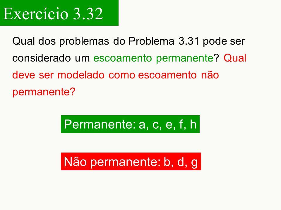 Exercício 3.32 Permanente: a, c, e, f, h Não permanente: b, d, g