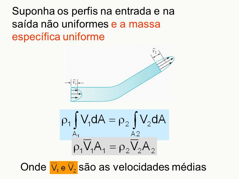 Suponha os perfis na entrada e na saída não uniformes e a massa específica uniforme