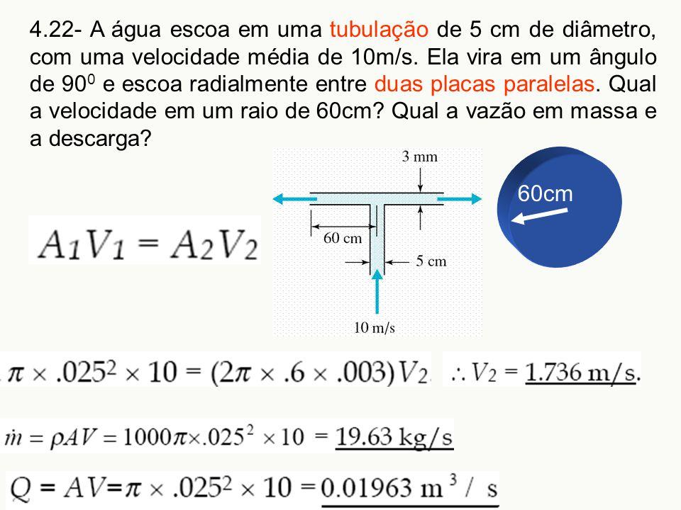 4.22- A água escoa em uma tubulação de 5 cm de diâmetro, com uma velocidade média de 10m/s. Ela vira em um ângulo de 900 e escoa radialmente entre duas placas paralelas. Qual a velocidade em um raio de 60cm Qual a vazão em massa e a descarga