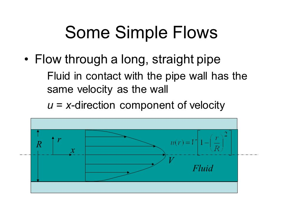 Some Simple Flows Flow through a long, straight pipe