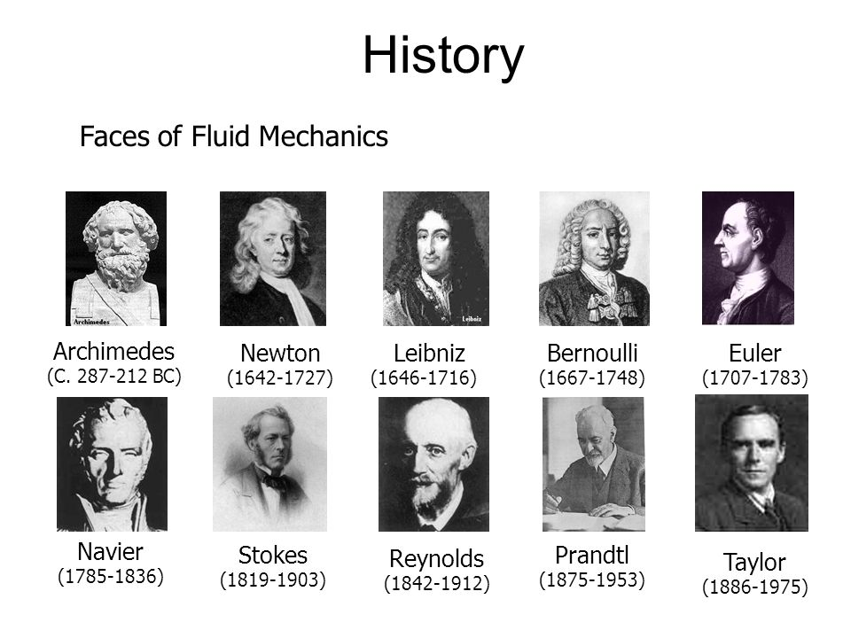 History Faces of Fluid Mechanics Archimedes Newton Leibniz Bernoulli