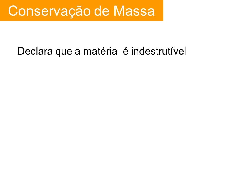 Conservação de Massa Declara que a matéria é indestrutível