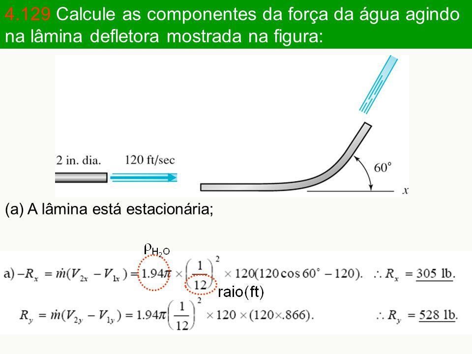 4.129 Calcule as componentes da força da água agindo na lâmina defletora mostrada na figura: