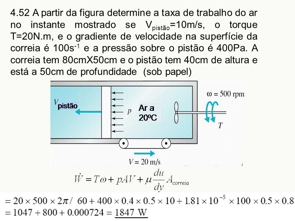 4.52 A partir da figura determine a taxa de trabalho do ar no instante mostrado se Vpistão=10m/s, o torque T=20N.m, e o gradiente de velocidade na superfície da correia é 100s-1 e a pressão sobre o pistão é 400Pa.