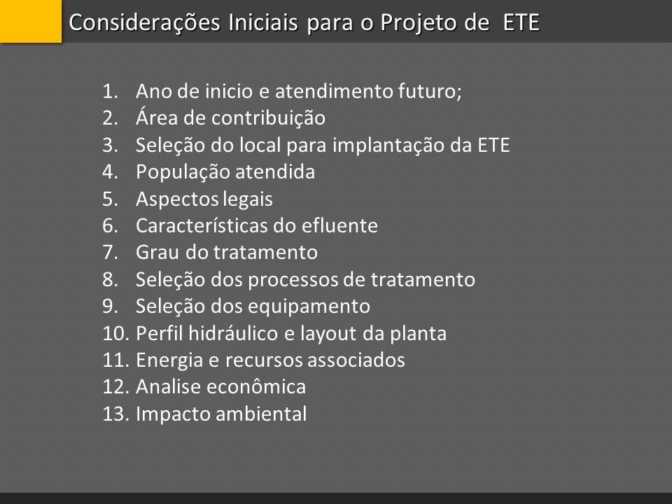 Considerações Iniciais para o Projeto de ETE