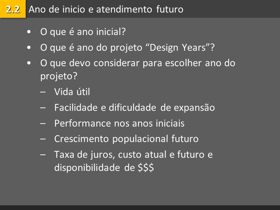 Ano de inicio e atendimento futuro