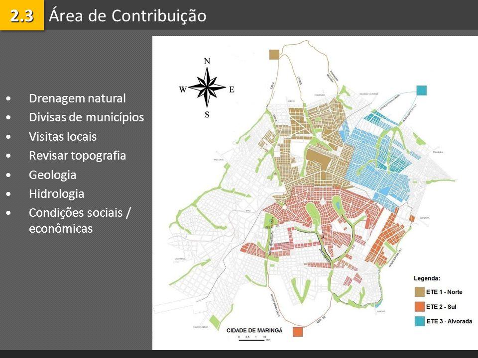 2.3 Área de Contribuição Drenagem natural Divisas de municípios
