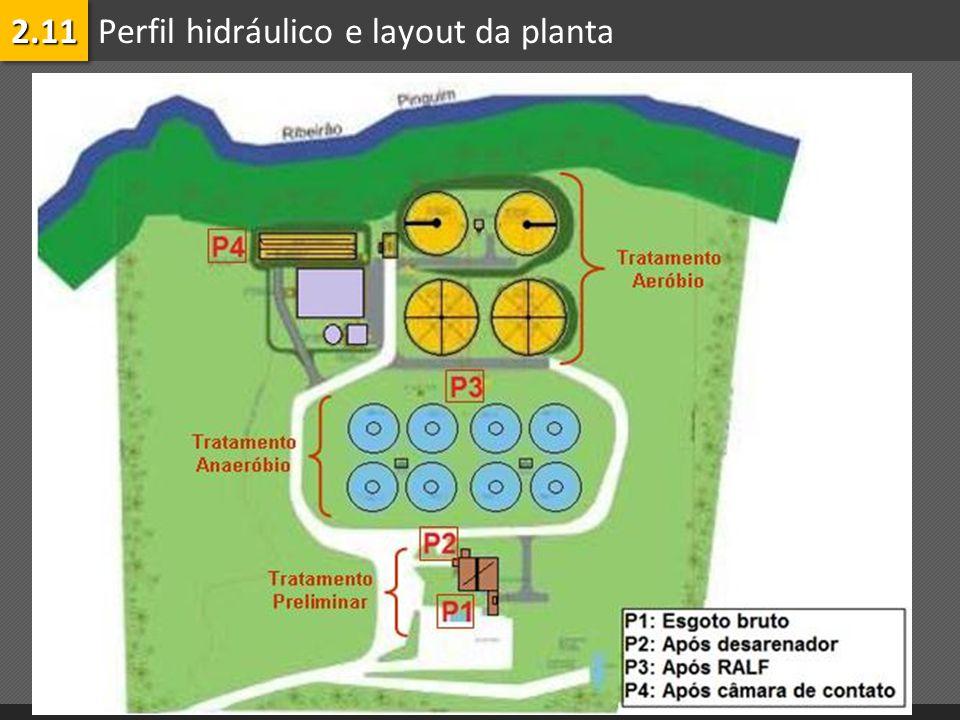 Perfil hidráulico e layout da planta