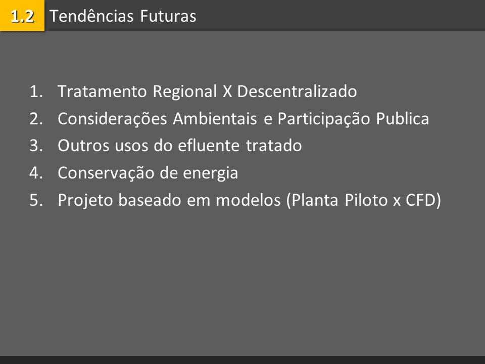 1.2 Tendências Futuras. Tratamento Regional X Descentralizado. Considerações Ambientais e Participação Publica.