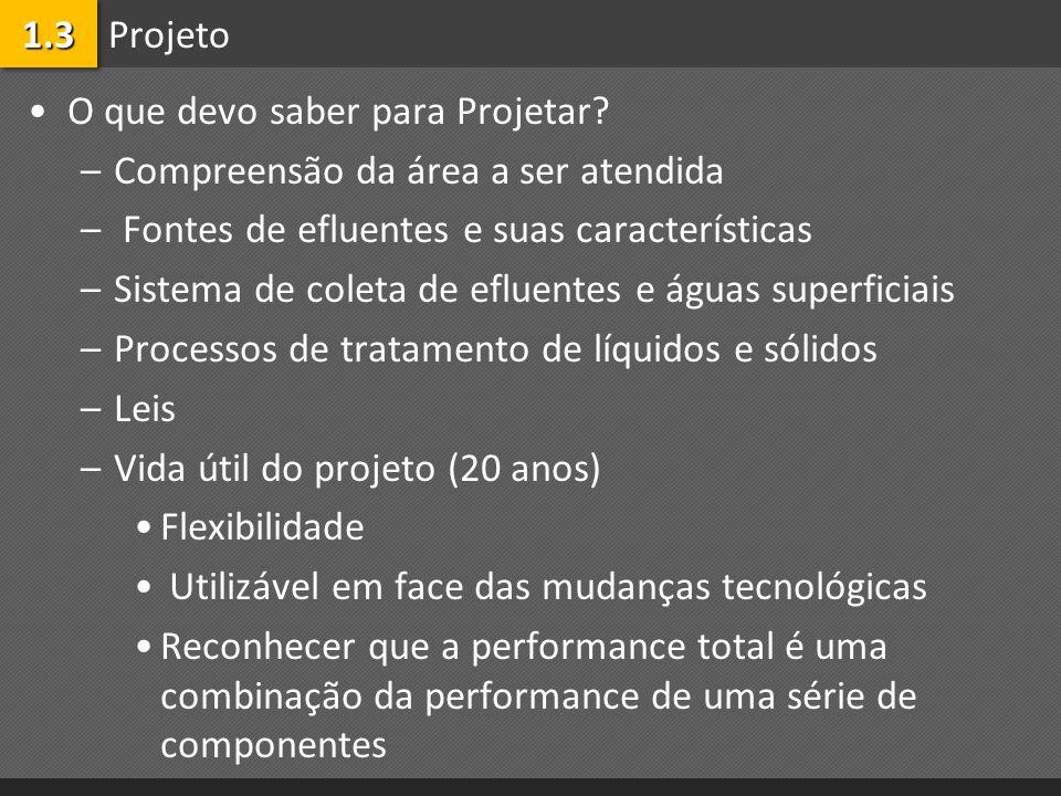 1.3 Projeto. O que devo saber para Projetar Compreensão da área a ser atendida. Fontes de efluentes e suas características.
