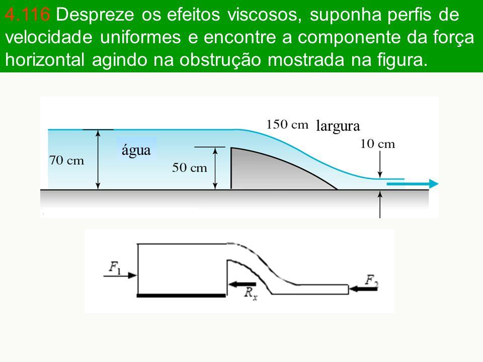 4.116 Despreze os efeitos viscosos, suponha perfis de velocidade uniformes e encontre a componente da força horizontal agindo na obstrução mostrada na figura.
