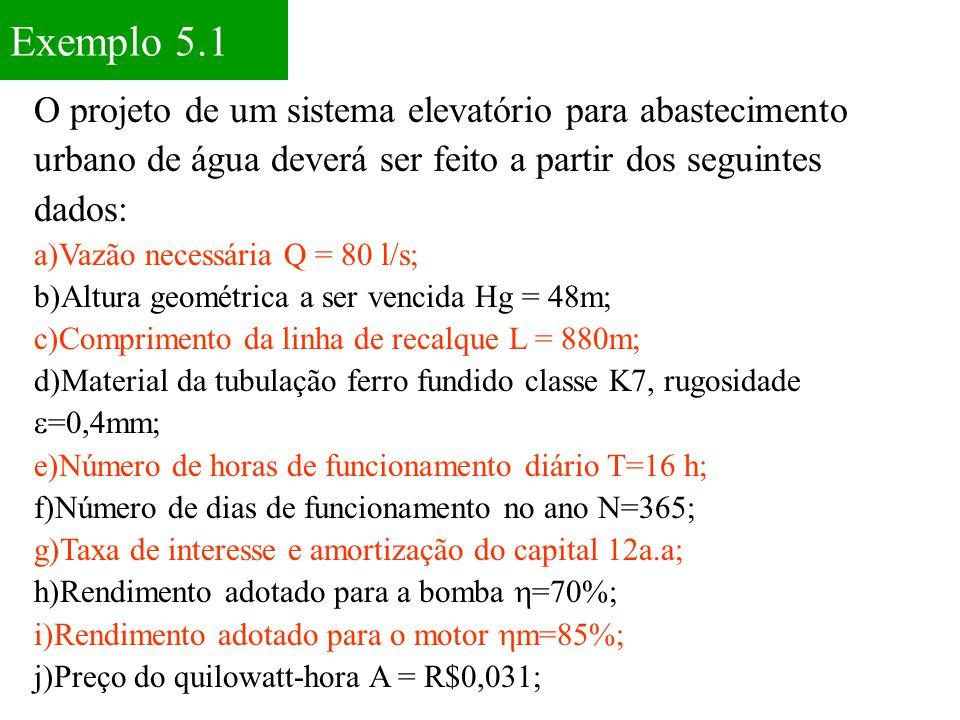 Exemplo 5.1 O projeto de um sistema elevatório para abastecimento urbano de água deverá ser feito a partir dos seguintes dados: